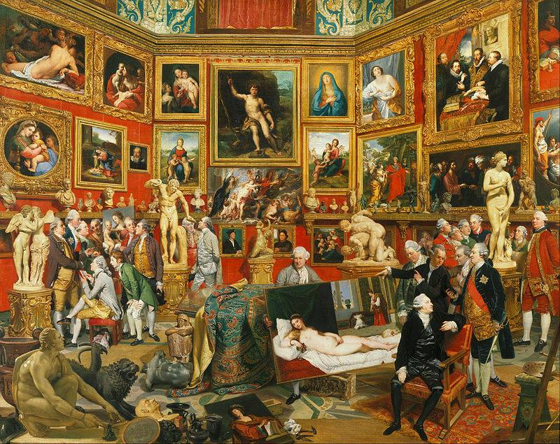 Johann Zoffany painted the Tribune of the Uffizi Gallery