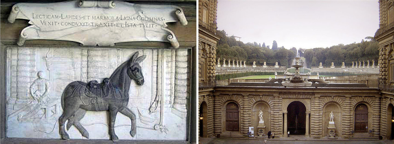 A Mule is celebrated in the courtyard of Palazzo Pitti