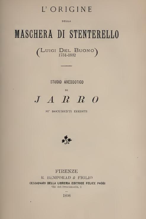 L' ORIGINE DeLLA MASCHERA DI STENTERELLO /Luigi Del Buono 1781-1832 STUDIO ANEDDOTICO JARRO