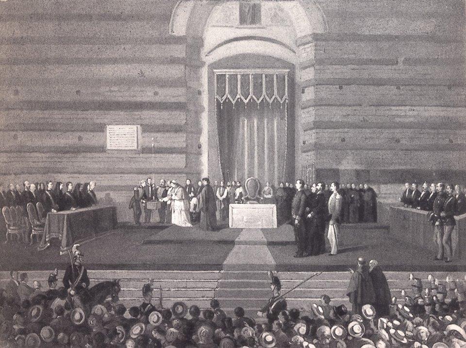 Posa della prima pietra della facciata di Santa Croce.