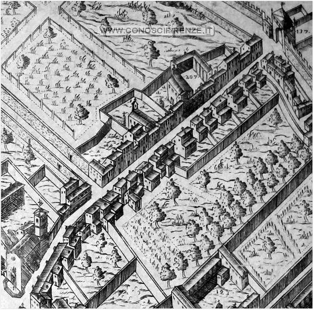 Borgo la croce sulla mappa del Bonsignori