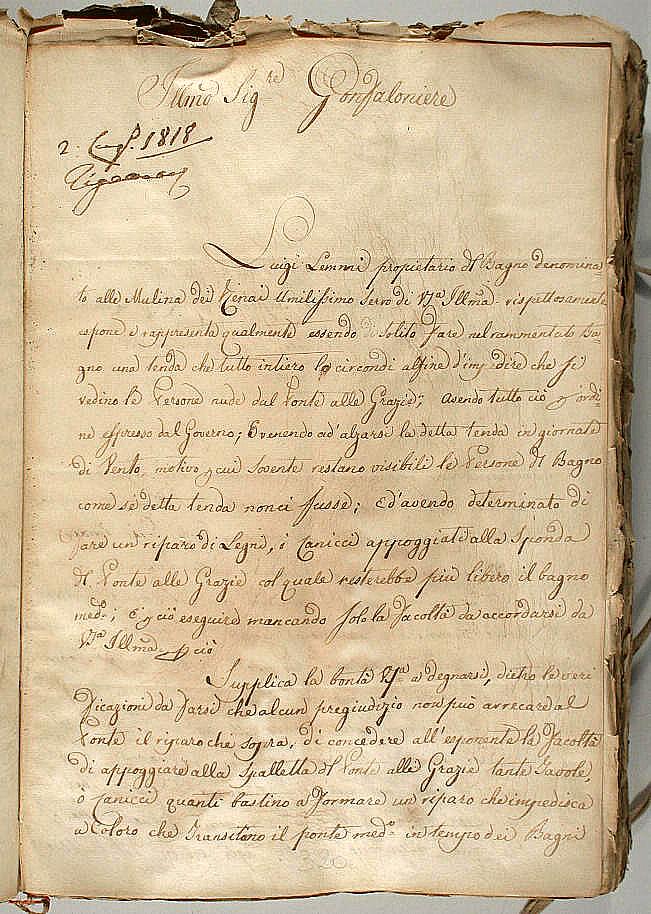 Domanda di permesso di Luigi Lemmi di recintare il suo bagno pubblico alle Mulina dei Renai, e parere dell'ingegnere di circondario