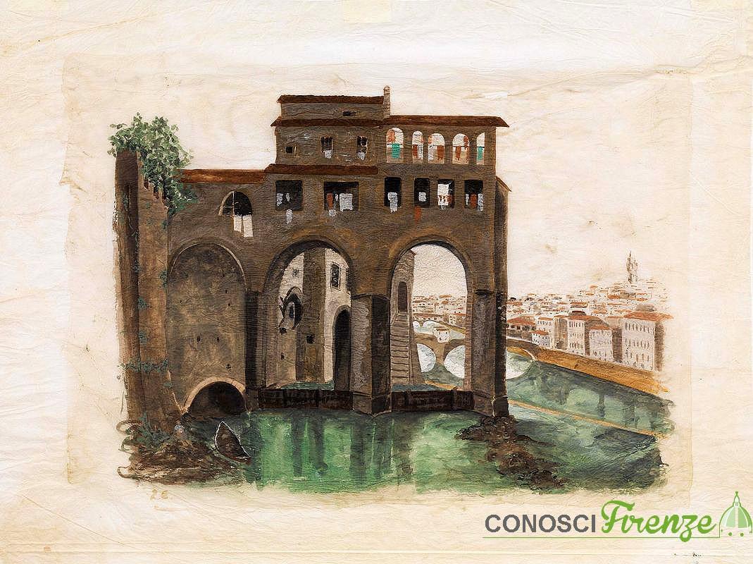 Fabio Borbottoni - Molina di San Niccolò (sullo sfondo il Ponte alle Grazie) - Acquerello su carta -www.farsettiarte.it