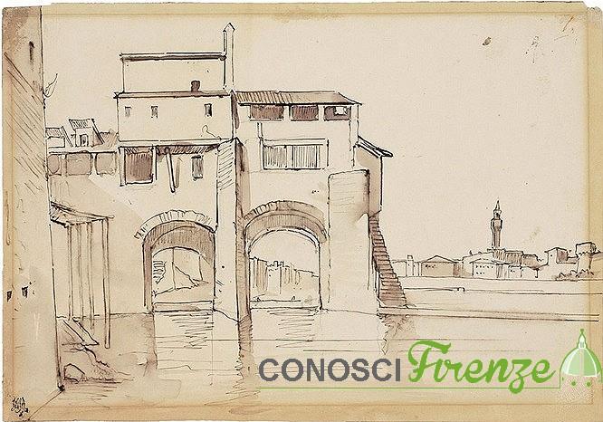 veduta dell'Arno dalle Molina di San Niccolò nel 1850 di Giuseppe Moricci 1806 - 1879