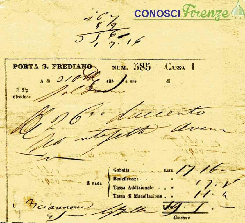 Ricevuta rilasciata nel 1885 alla barriera della porta a San Frediano