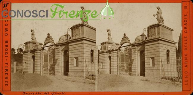 Ingresso del giardino Tivoli a Firenze. Fotografia stereoscopica