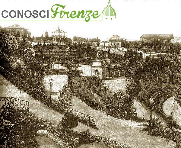 Veduta del Giardino di Tivoli a Firenze, con i padiglioni immersi nel verde