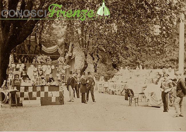 Bancone con vendita di prodotti all'interno del Giardino di Tivoli