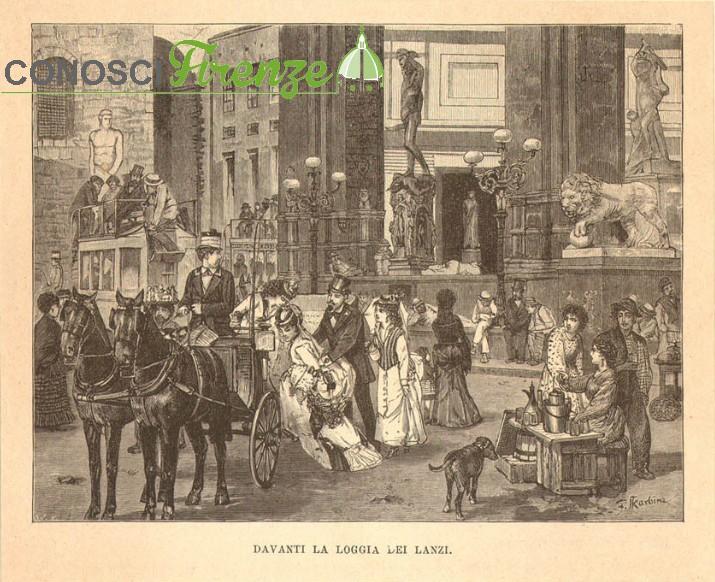 Stampa del 1800 Loggia dei Lanzi