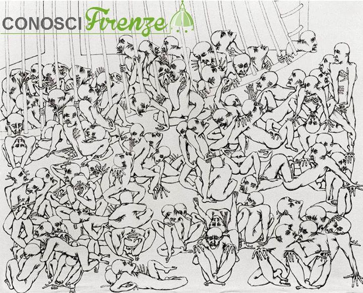 Antonio Manzi: Manicomio 1974 Disegno a penna biro su stoffa di lino cm 160x175