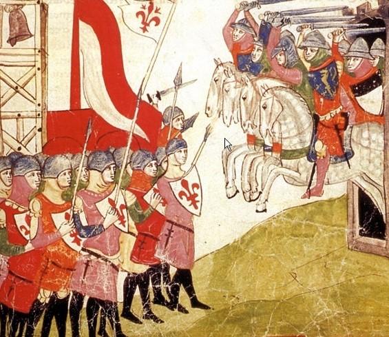 Il Carroccio fiorentino con la bandiera del comune, immagine presa da una miniatura della Cronica nuova di Giovanni Villani