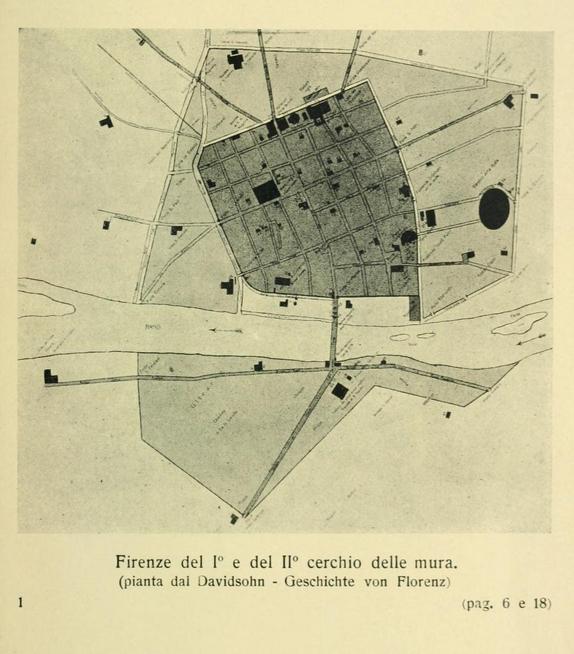 """Firenze del I"""" e del 11' cerchio delle mura, (dalla pianta di F. Bonsignori, 1583)"""