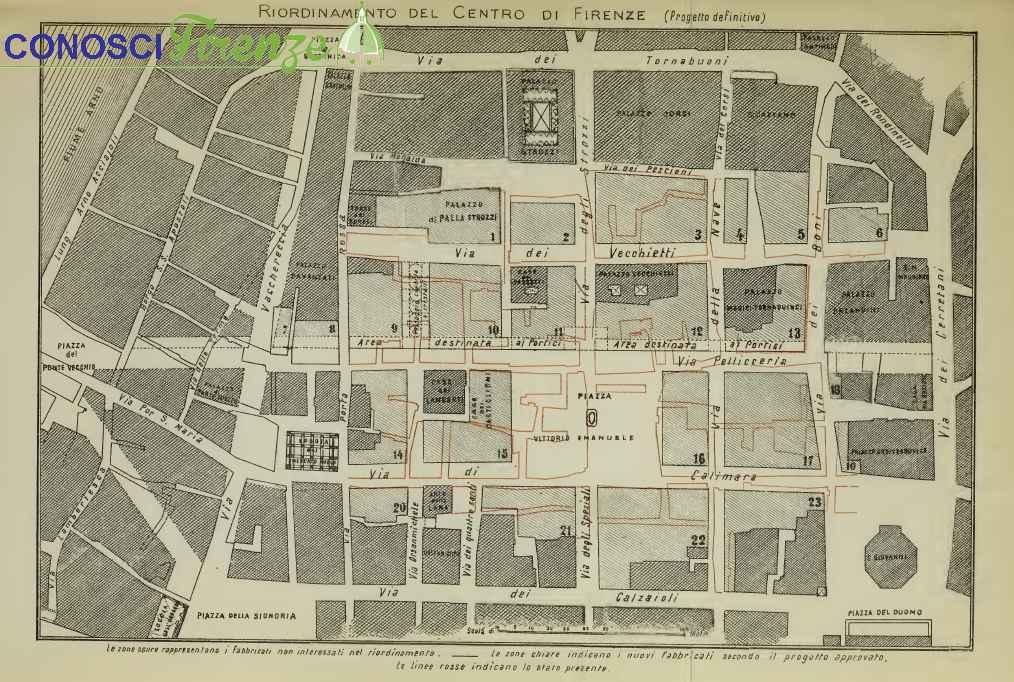 Mappa del riordino dell'antico Centro