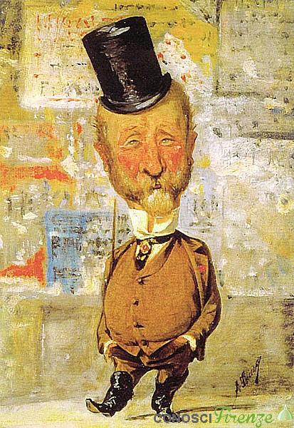 Carlo Lorenzini in una caricatura di Angiolo Tricca del 1875