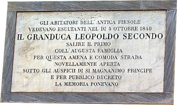 Targa commemorativa a Leopoldo II a fiesole