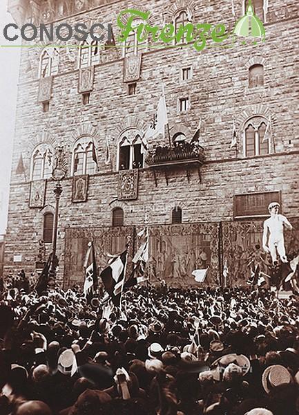 Piazza della Signoria commemorazione della morte di Dante nel 1921