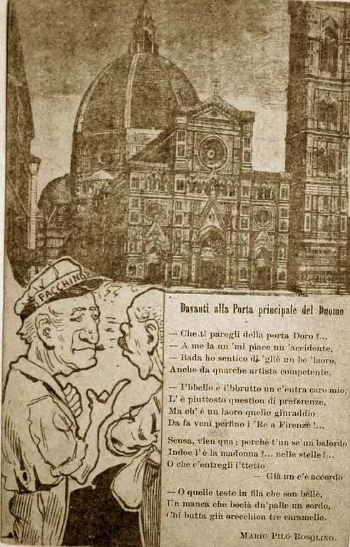 Vignetta Umoristi sulla nuova facciata del Duomo 1887