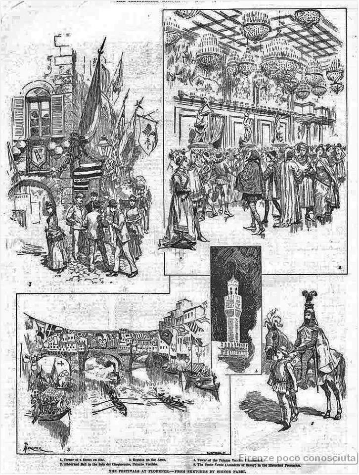 Articolo di un giornale inglese su l'inaugurazione della facciata del Duomo:  The Festivals at Florence - Sketches by Signor Fabbi, nel 1887