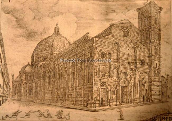 Disegno che ci mostra come era la facciata antecedente alla costruzione della facciata del Duomo, forse fantasioso o forse no, non ci sono certezze ma solo studi.