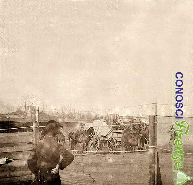 Gli emigranti delle praterie, una scena dello spettacolo western West Wild Show di Buffalo Bill