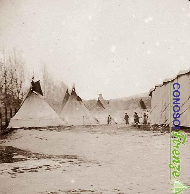 Ricostruzione scenografica di un accampamento indiano eseguita per lo spettacolo di Wild West Show di Buffalo Bill