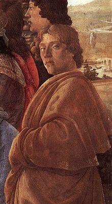 Presunto autoritratto di Botticelli dall'Adorazione dei Magi degli Uffizi
