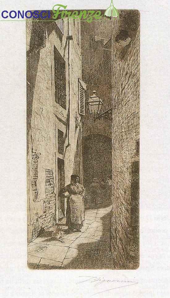 Telemaco Signorini acquaforte, Vicolo dei LontanMorti, 1874