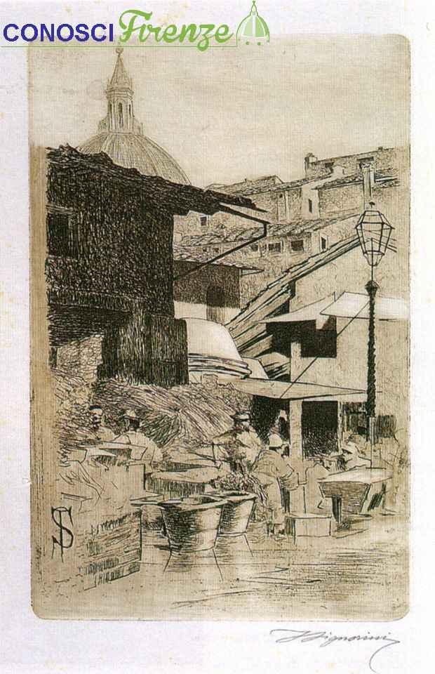Telemaco Signorini,acquaforte, Fonte del Mercato Vecchio,1874
