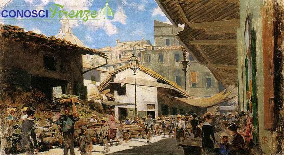 Telemaco Signorini (1835-1901) Mercato Vecchio A Firenze (1881