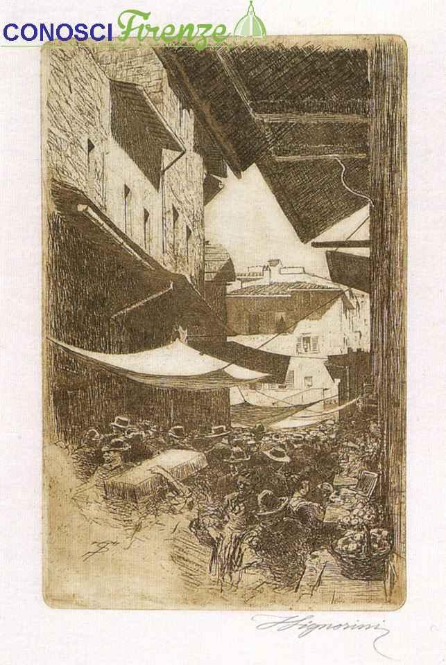 Telemaco Signorini, 1874 in via Calimala