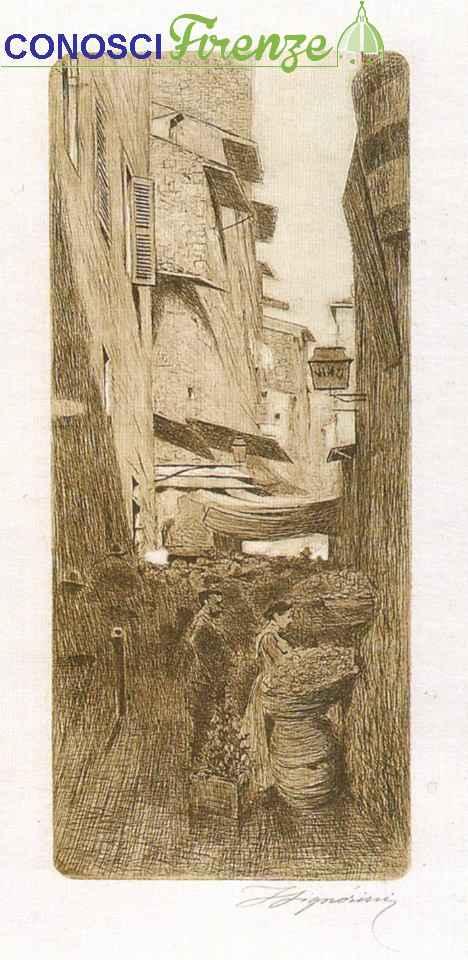 Telemaco Signorini acquaforte, Via degli Speziali in estate 1874