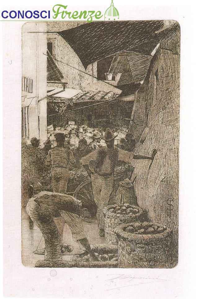 Telemaco Signorini acquaforte, Via de' Pellicciai adesso via Pellicceria,1874