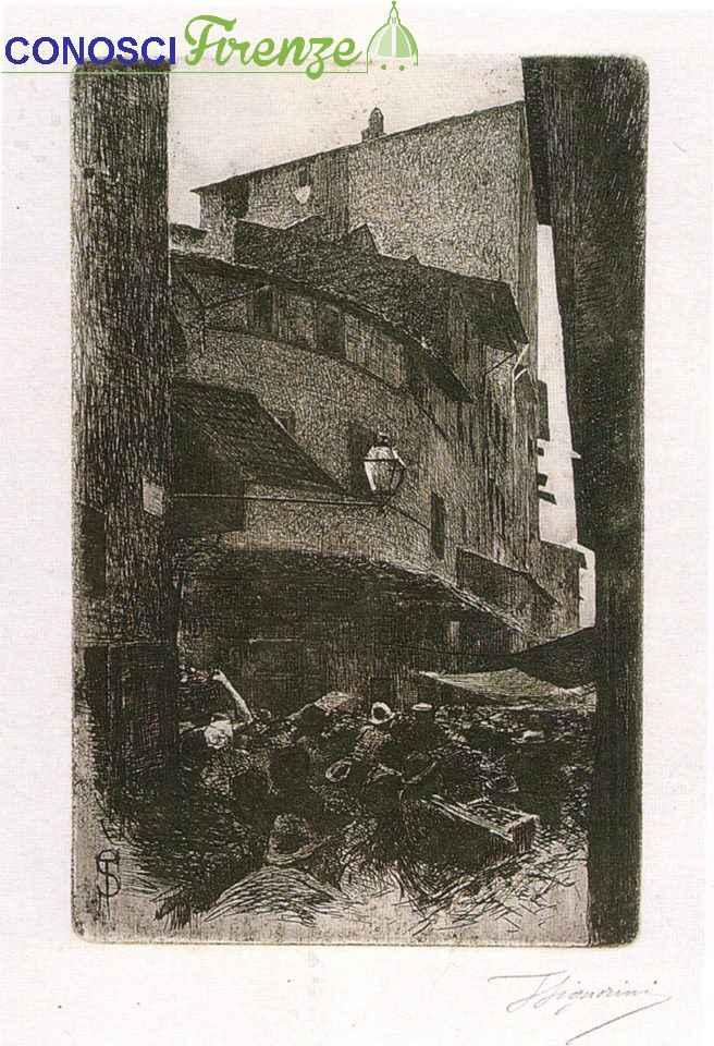 Telemaco Signorini acquaforte, Santa Maria della Tromba, 1874. Chiamata cosi per la sede dei trombettieri del Comune fiorentino. Il tabernacolo adesso è dietro la chiesa di Orsammichele.