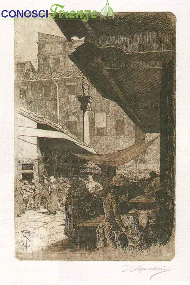 Mercato Vecchio, Colonna dell'Abbondanza, Telemaco Signorini, acquaforte, 1874