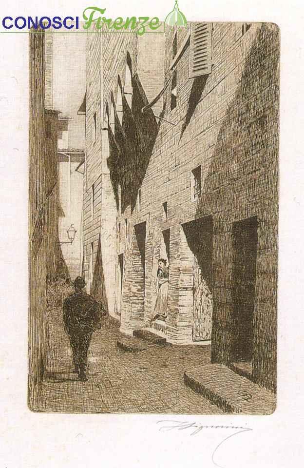 Telemaco Signorini acquaforte, La casa via Dante da Castiglione, 1874, zona Poggio Imperiale.