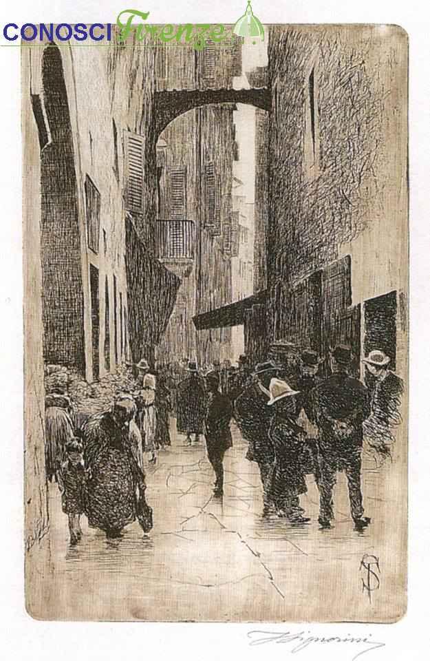 Telemaco Signorini, una strada del vecchio ghetto, anno 1874...