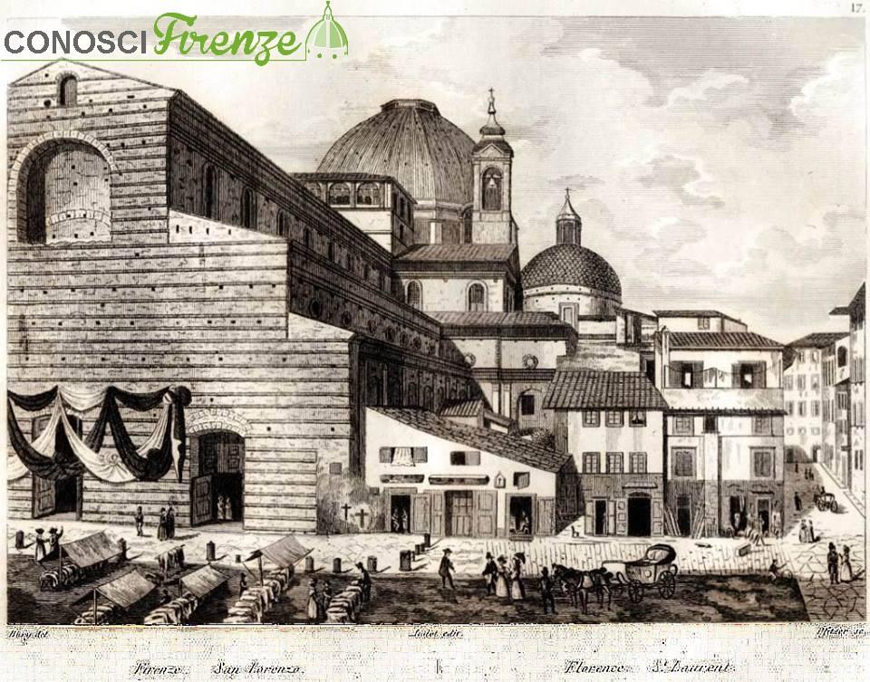 Stampa del 1832 di Piazza San Lorenzo e il distrutto Canto de' Nelli