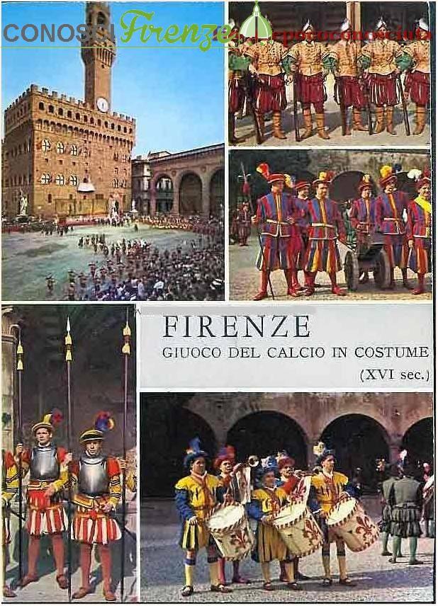 Varie immagini in una cartolina del Calcio in Costume